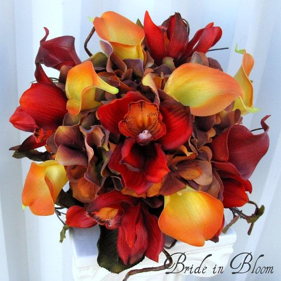 Silk Orange Fall Flowers: Autumn Wedding Bouquet Fall Bridal Bouquet Red & Orange