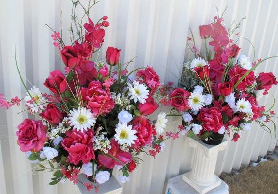 Altar arrangement hot pink white Wedding bouquet