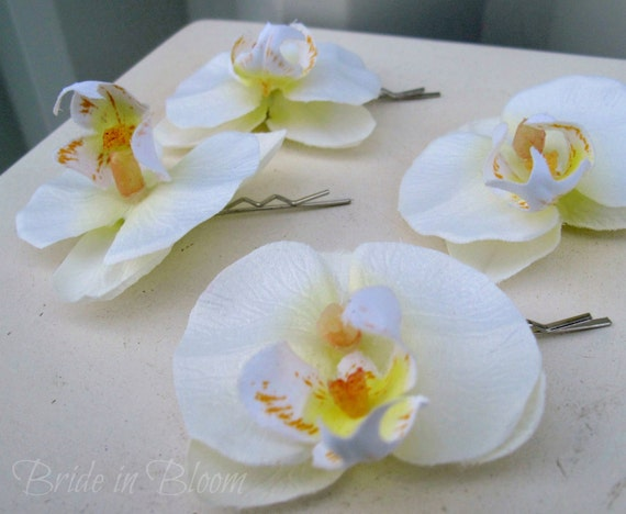 Wedding hair accessories Bridal hair clips 4 white orchid bobby pins bridesmaids flower girls