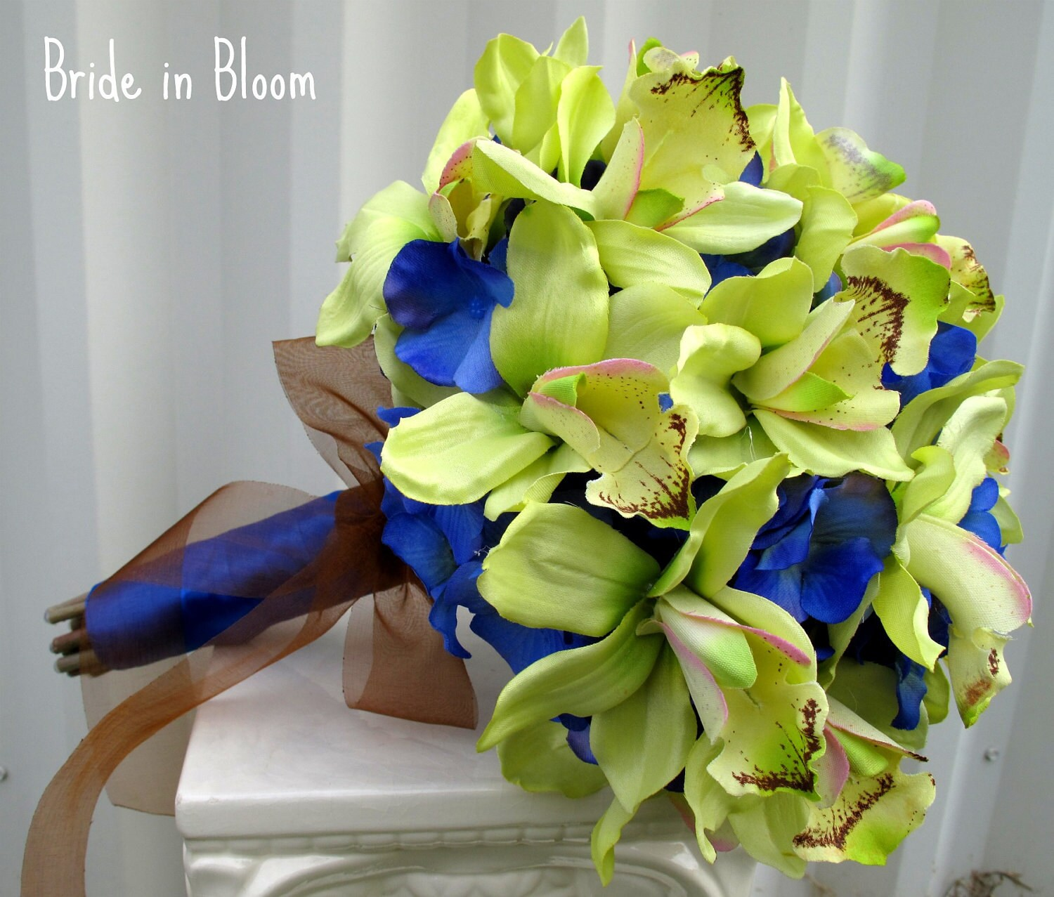 Wedding Bouquets Blue And Green: Green orchid royal blue wedding ...