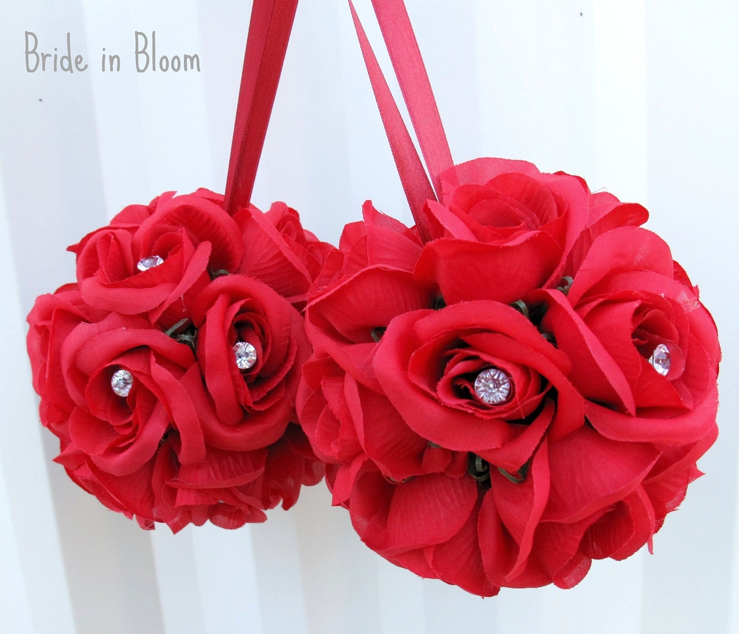 Wedding flower balls sale red pomander girl