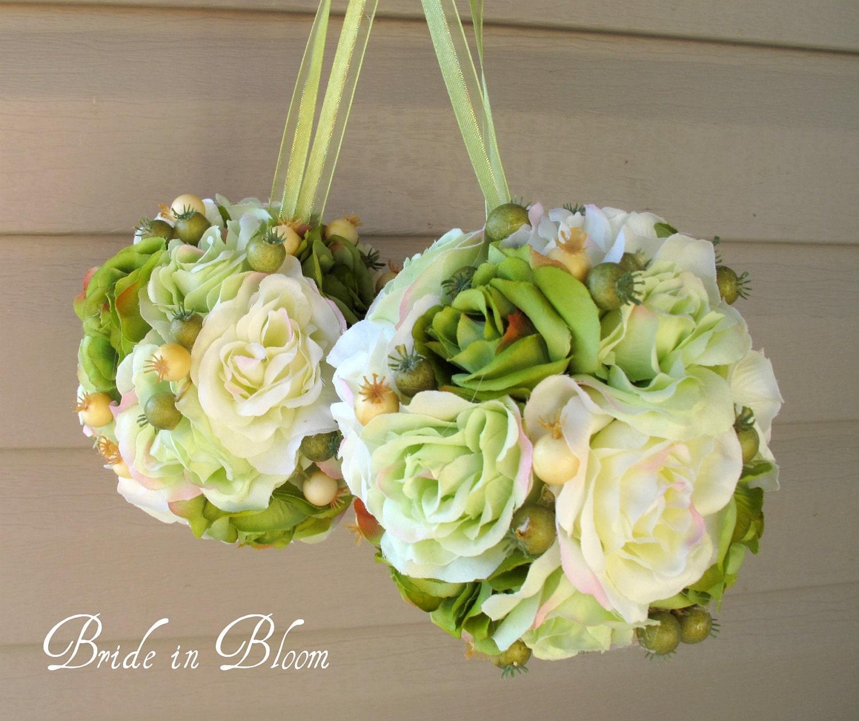 Wedding flower balls pomander green ivory wedding decorations for Wedding flower decoration