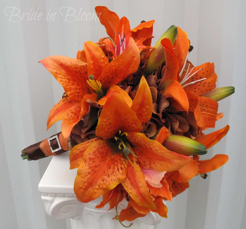 Silk Orange Fall Flowers: Tiger Lily Wedding Bouquet Silk Bridal By BrideinBloomWeddings