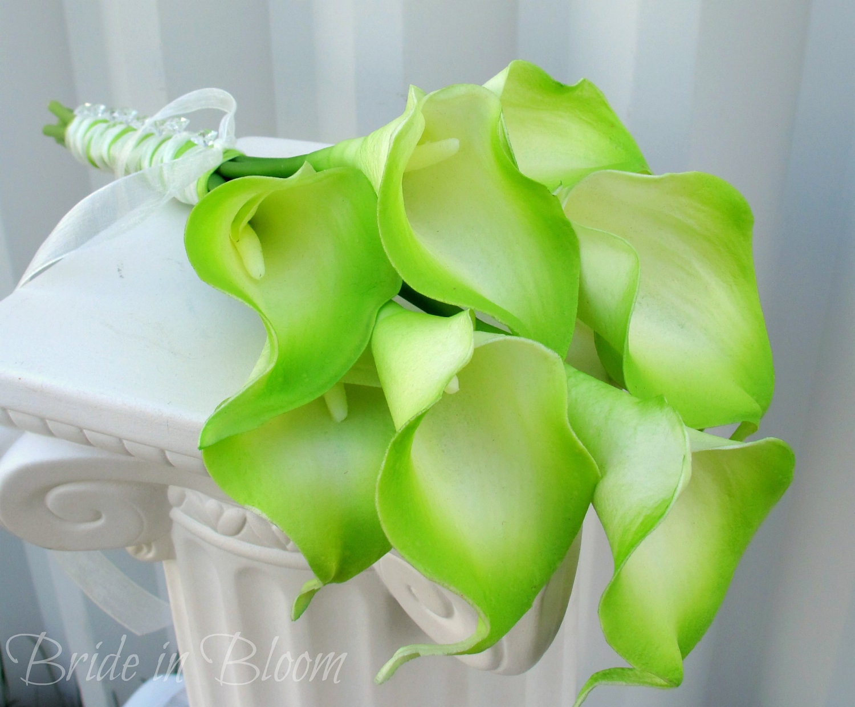 Lime Green Bridal Flowers : Bridesmaid bouquet wedding lime green cream calla