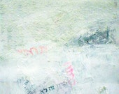 mixed media painting  white rag texture