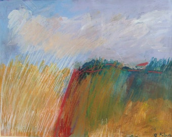 mixed media painting original landscape fields wine country oil pastels acrylic