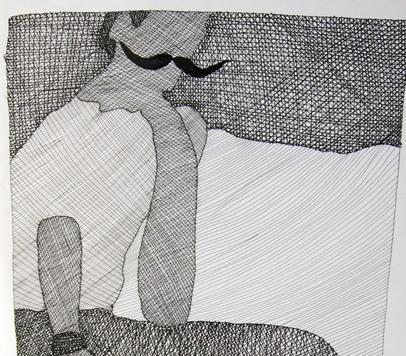 Mustache Man original ink drawing