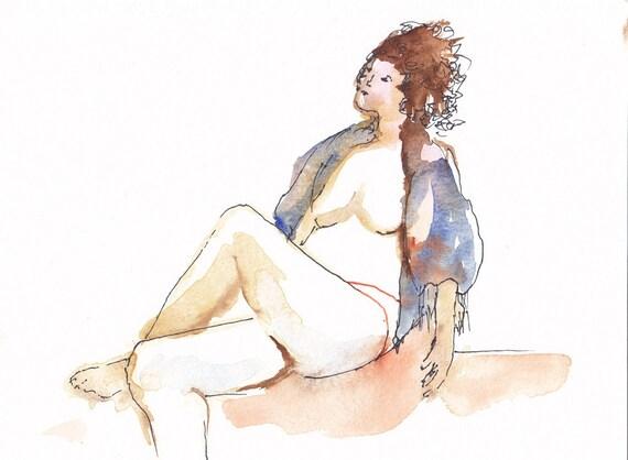 original watercolor nude Jasmine