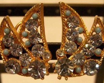 BSK Gold Earrings with Blue Rhinestones and Faux Turquoise