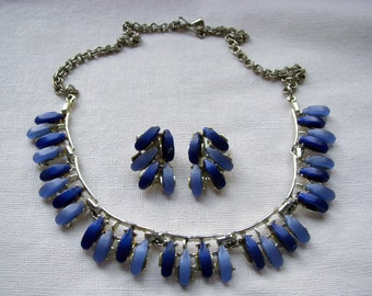 Blue Thermoset Necklace and Earrings