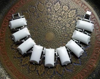 White Claudette Chiclet  Bracelet