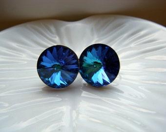 Weiss Bermuda Blue Rivoli Earrings