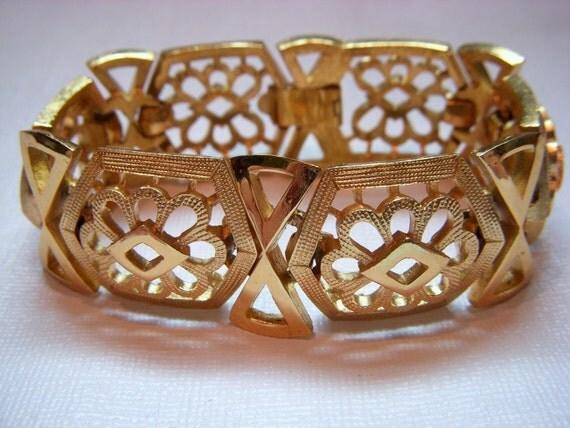 Reserved For Diana - Crown Trifari Gold Bracelet and 2 pair Crown Trifari Earrings