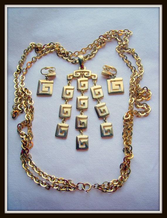 SALE - Crown Trifari Gold Greek Key Pendant Necklace and Earrings