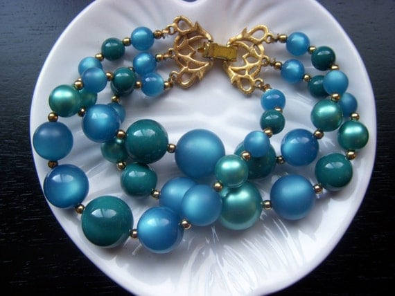 Hold for Cowgirl - Teal Blue Green Thermoset Bead Bracelet