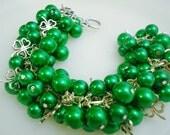 St Patricks Day Kelly Green Pearl Cluster Four Leaf Clover Charm Bracelet