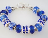 Bright Blue Eropean Charm Bracelet Pandora Style - PaytonsTreasures