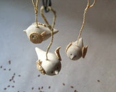 Flight wooden birds ornament, Wood carving, Easter ornament, Home decor, Set of 3