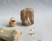 Reserved for Sarah -Woodland creature with his baby - wood carving, Native wall art