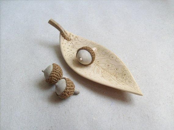 Hand sculpted mini acorns with a unique  leaf bowl