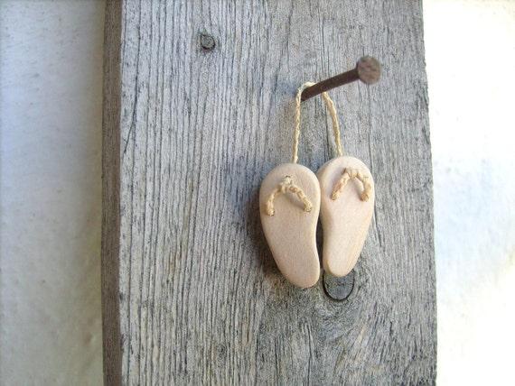 Wooden elf's slippers, miniature native wall art