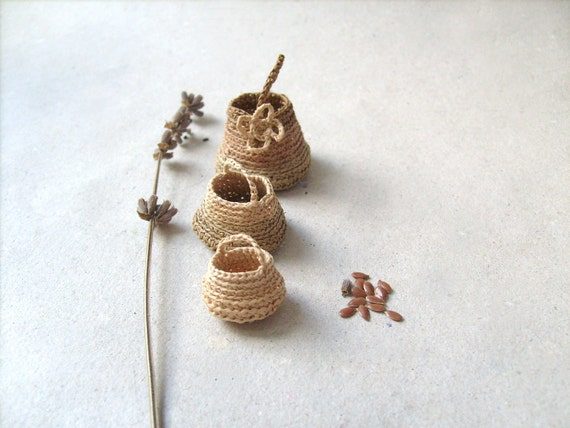 Miniature elf's baskets ,set of three, kitchen decor