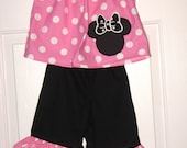 Minnie Mouse Pants outfit 6 months to size 8 Name added FREE