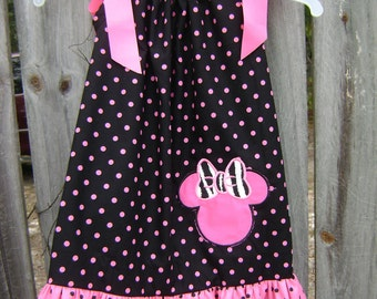Minnie Mouse Dress Hot Pink and Black