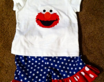 Elmo Shorts outfit Size 6 months up to size 8