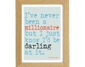 """Dorothy Parker """"Millionaire"""" A4 Quotation Print"""