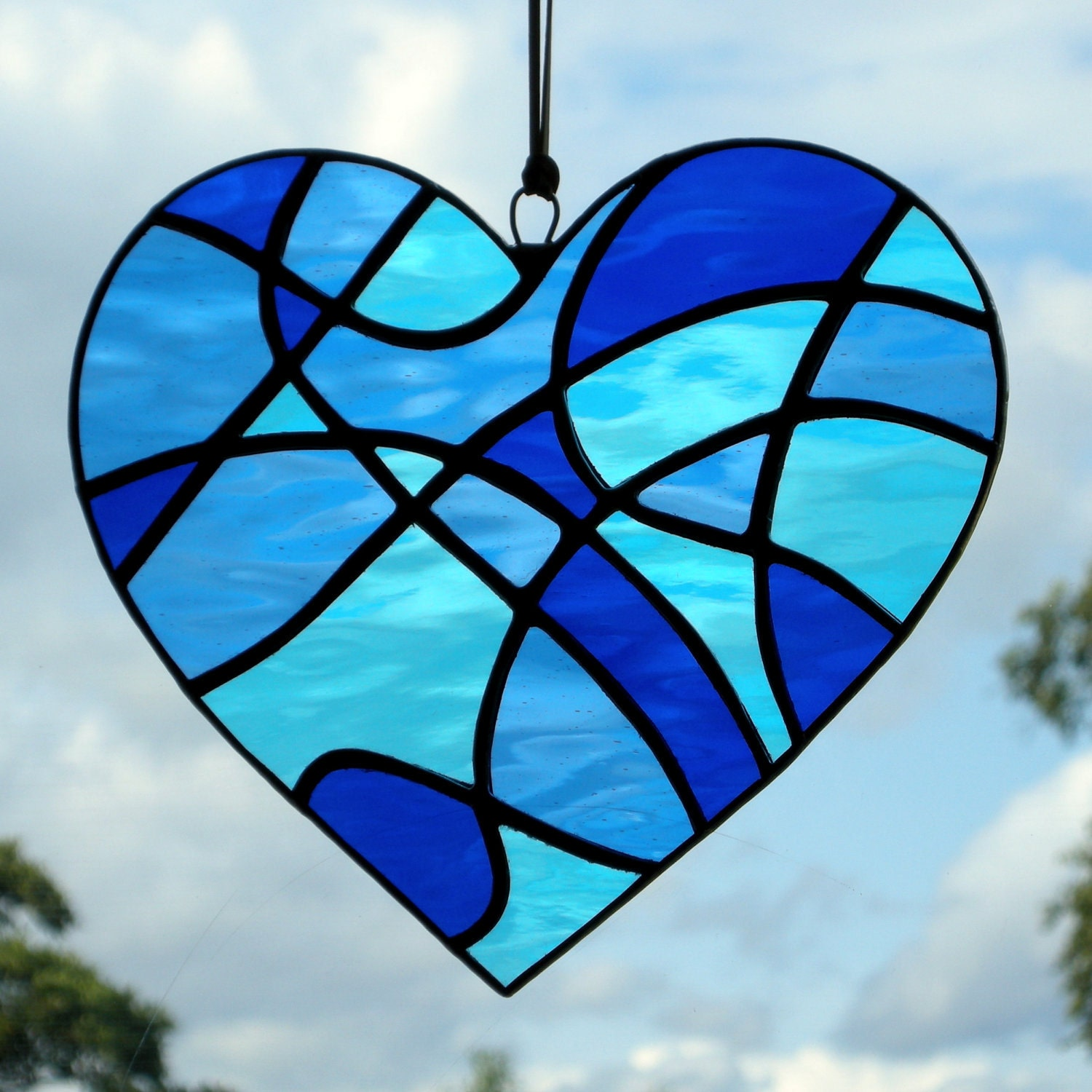 Stained Glass Abstract Love Heart In Blues