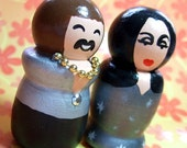 Sonny and Cher Handpainted Wood Figures Cake Topper - READY TO SHIP