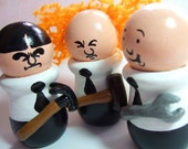 Three Stooges Hand Painted Wood Figure Cake Topper Set