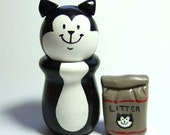 Black and White Tuxedo Kitty Cat with Bag of Litter - Wood Figure Handmade Collectible Figurine - Cat Lover