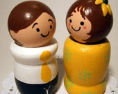 Figurine Couple Wood People Cake Topper READY TO SHIP - Handmade by Wee Wood Be Pals