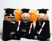 Three Stooges Graduation Figures Cake Topper with Removable Robes and Hats