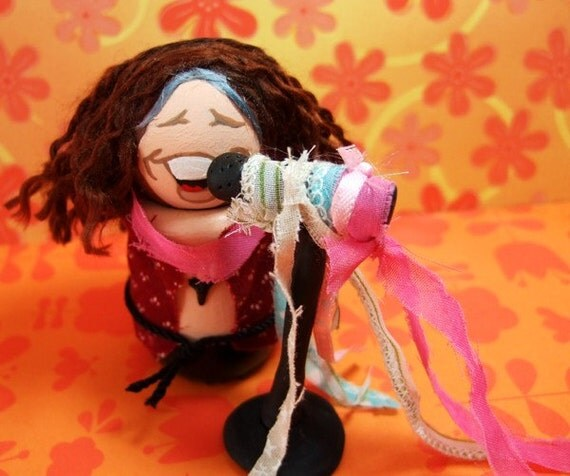 STEVEN TYLER of Aerosmith Figure - Handmade One of a Kind Wood Figurine Cake Topper Collectible