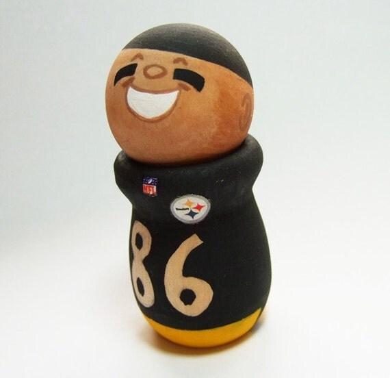 Hines Ward 86 The Pittsburgh Steelers Wide Receiver Handmade Wood Figure