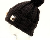 Extra Large Chunky Black Ribbed Bobble Ski Hat. Giant Studs. Fits Dreadlocks. Snowboard. Gothic.