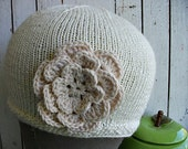 Soft Bamboo Knitted Hat with Flower Gift for Her gift under 25 dollars