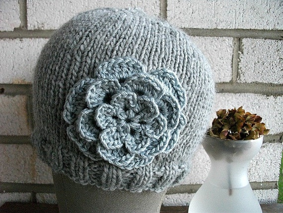 Earl Grey Flowered  Knitted Hat Gift for Her under 25 dollars