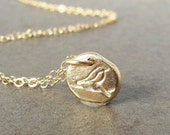 Reserved for Deb - 14k Gold Pebble Charm - Bird Pendant No Chain