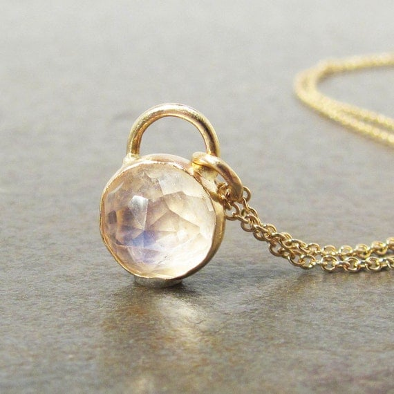 Gold Rainbow Moonstone Necklace - 14k Gold Rose Cut Moonstone