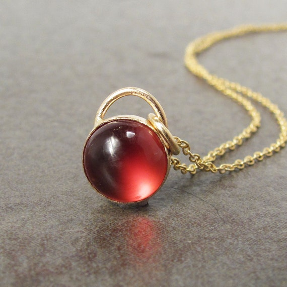 Red Garnet 14k Gold Necklace, Ready to Ship