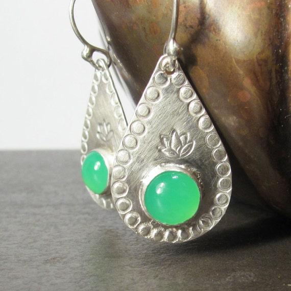Silver Lotus Earrings, Bright Lime Chrysoprase Summer Dangle Earrings