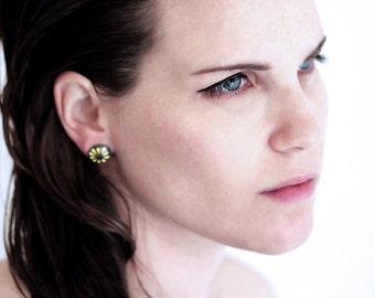 Modern stud Earrings for women, yellow enamel& black sterling silver