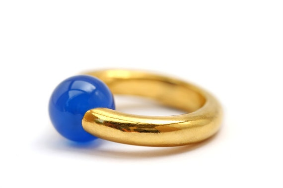 Blue agate ring - minimalist gold plated silver jewelry