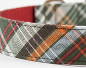 Olive Green Tartan Dog Collar