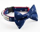 Navy Blue Anchor Dog Bow Tie Collar