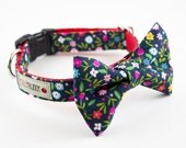 Dainty Navy Floral Dog Bowtie Collar